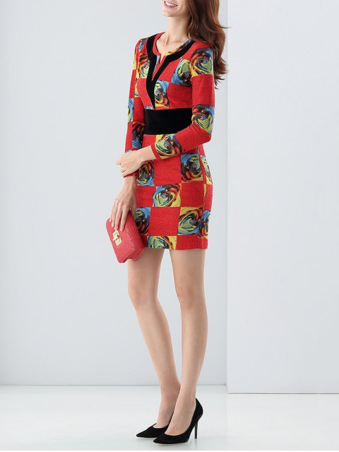latest Long Sleeve Rose Bodycon Dress - RED XL Mobile