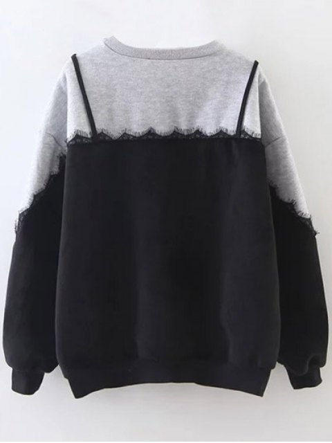 best Cami Panel Crew Neck Sweatshirt - GRAY ONE SIZE Mobile