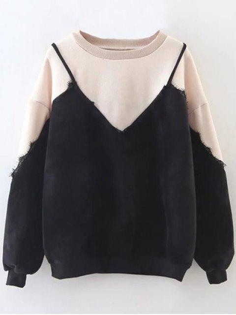 women's Cami Panel Crew Neck Sweatshirt - NUDE ONE SIZE Mobile