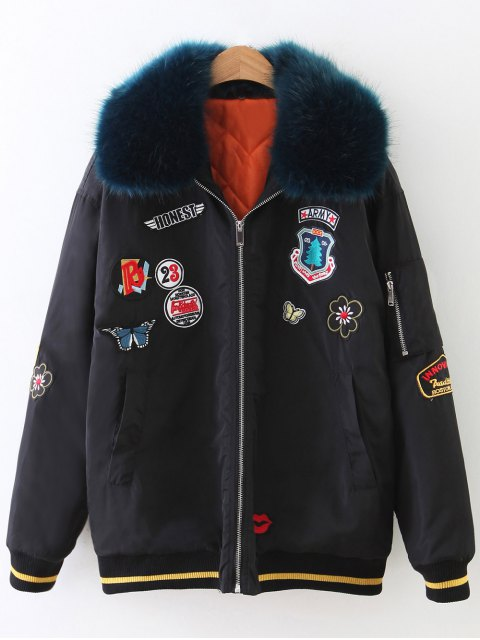 lady Patch Design Fur Collar Padded Bomber Jacket - BLACK S Mobile