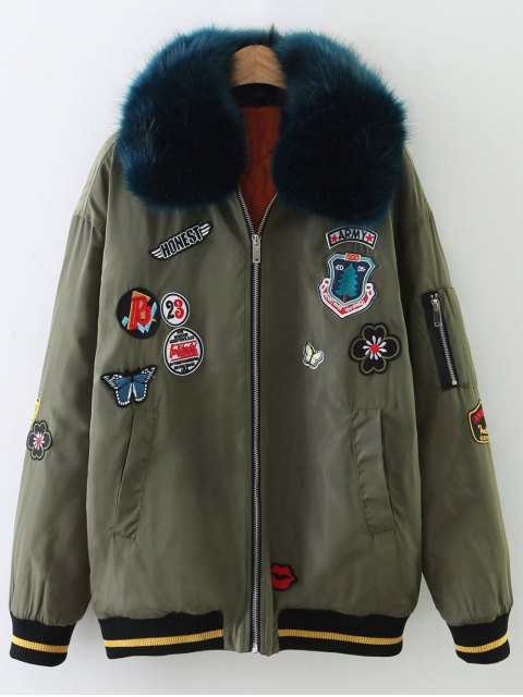 outfits Patch Design Fur Collar Padded Bomber Jacket - ARMY GREEN L Mobile