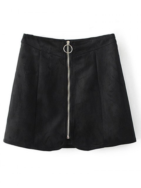 chic Zippered Suede Mini Skirt - BLACK S Mobile