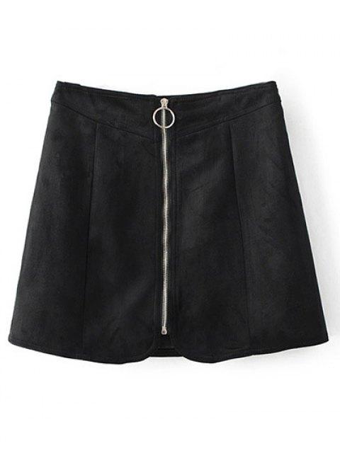 trendy Zippered Suede Mini Skirt - BLACK L Mobile