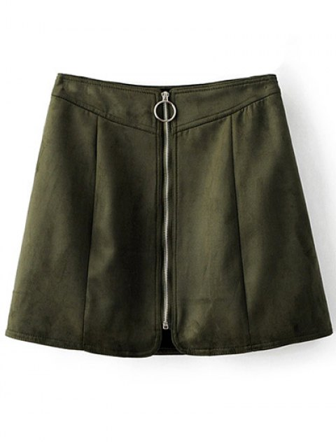 affordable Zippered Suede Mini Skirt - ARMY GREEN M Mobile