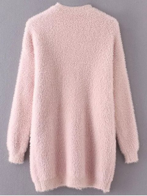 unique Slit Mock Neck Fuzzy Sweater - PINK ONE SIZE Mobile