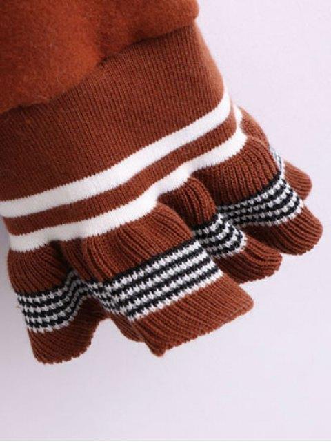 best Ruffled Sleeve Crew Neck Knitwear - DARK AUBURN ONE SIZE Mobile