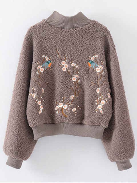 best Floral Embroidered Sherpa Sweatshirt - COFFEE ONE SIZE Mobile