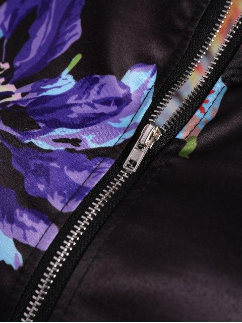 best Zippered Floral Bomber Jacket - BLACK XL Mobile