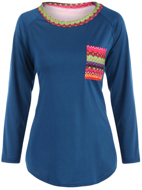 best Pocket Round Neck Printed Tunic T-Shirt - LAKE BLUE XL Mobile