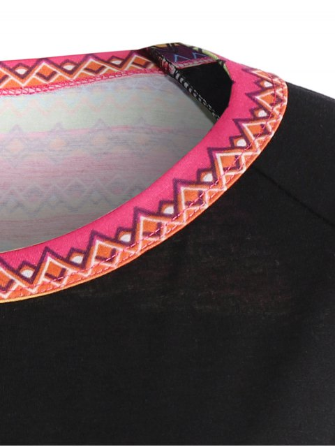 shops Pocket Round Neck Printed Tunic T-Shirt - BLACK S Mobile