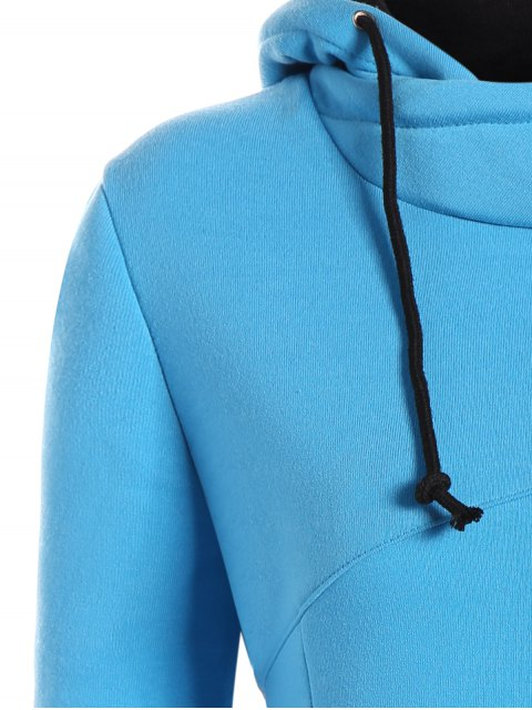 sale High Neck Drawstring Hoodie - BLUE M Mobile