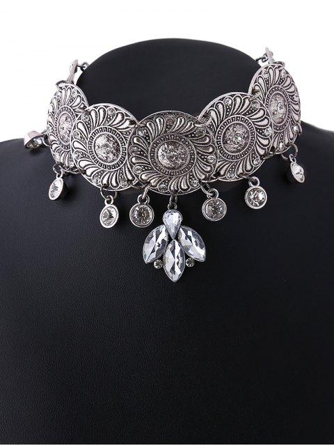 fancy Faux Crystal Flower Choker Necklace - SILVER  Mobile