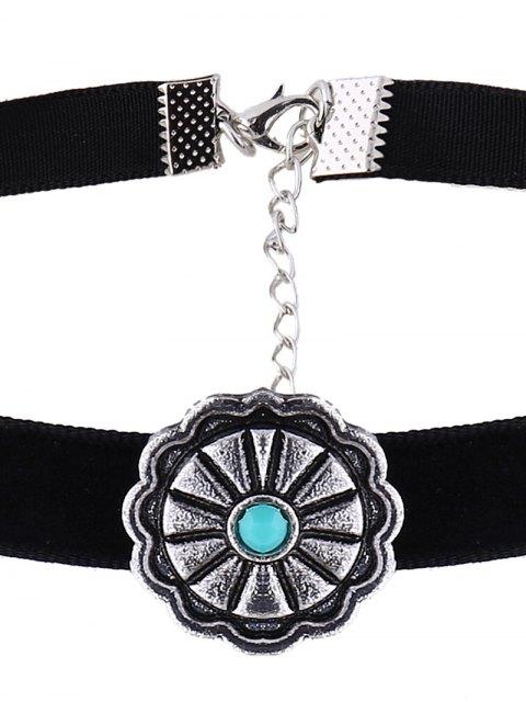 women Velvet Floral Choker Necklace - BLACK  Mobile