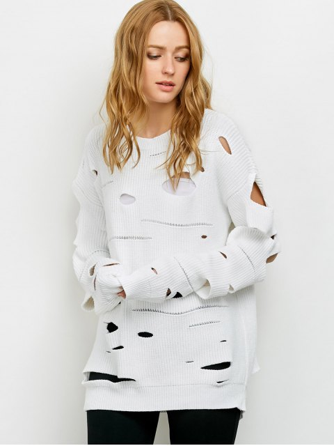 online Cut Out Crew Neck Sweater - WHITE M Mobile