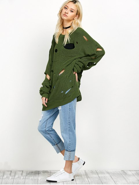 trendy Cut Out Crew Neck Sweater - GREEN M Mobile