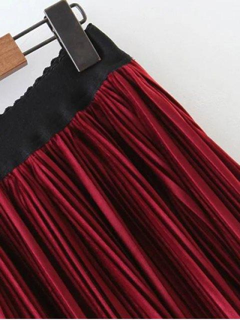 women's Pleated Velvet Maxi A Line Skirt - BURGUNDY L Mobile