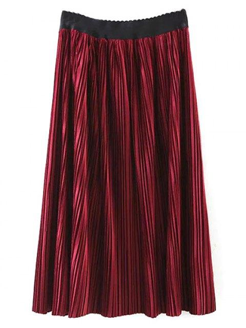 ladies Pleated Velvet Maxi A Line Skirt - BURGUNDY M Mobile