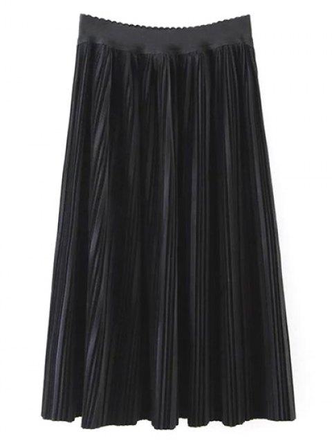 lady Pleated Velvet Maxi A Line Skirt - BLACK L Mobile