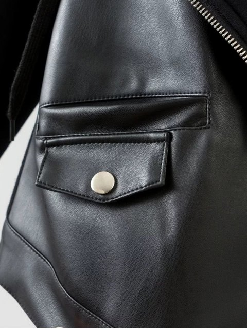 women Hooded PU Leather Panel Jacket - BLACK M Mobile