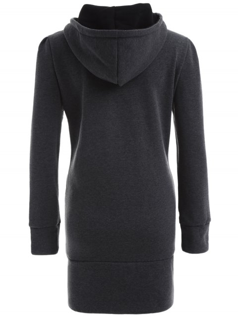 latest High Neck Drawstring Hoodie - GRAY XL Mobile