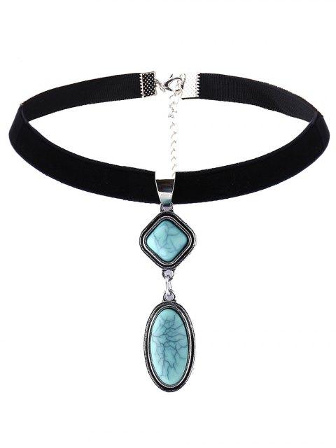 online Geometry Fake Gemstone Velvet Choker Necklace - BLACK  Mobile