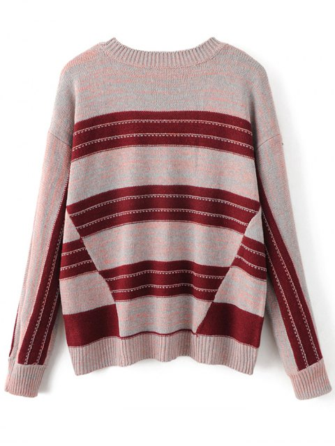 latest Graphic Oversized Sweater - RED ONE SIZE Mobile