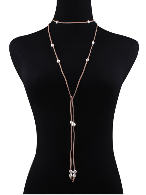new Fake Pearl Faux Leather Layered Necklace - KHAKI  Mobile