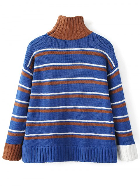women's Turtleneck Stripe Chunky Sweater - BLUE ONE SIZE Mobile