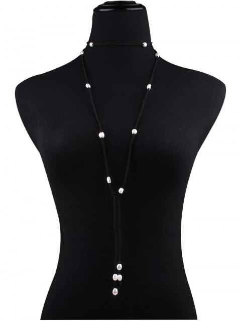 hot Fake Pearl Faux Leather Layered Necklace - BLACK  Mobile
