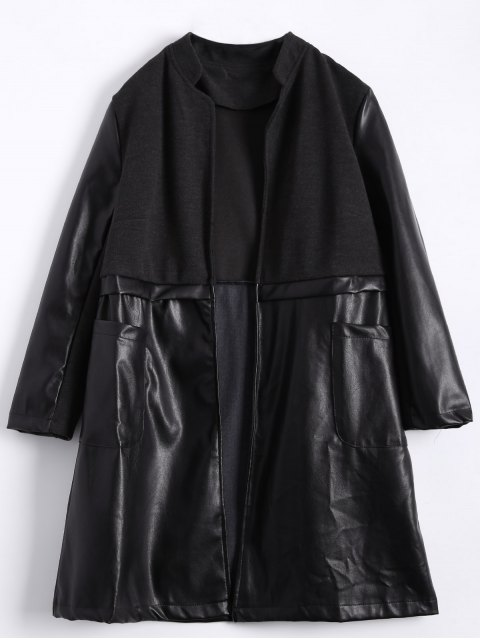 ladies PU Leather Panel Plus Size Coat - BLACK 3XL Mobile