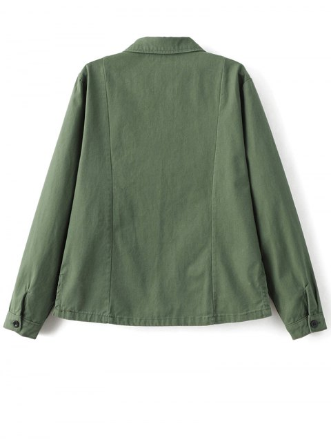 women Chevron Shirt Jacket - GREEN L Mobile
