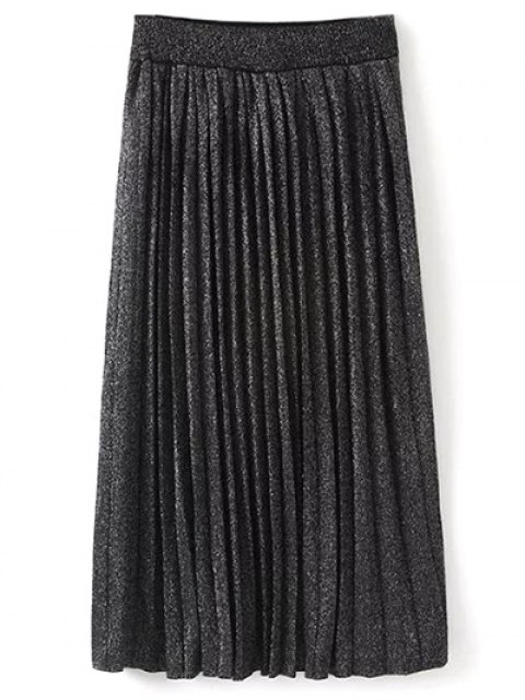 online Knitted Pleated Maxi Skirt - BLACK ONE SIZE Mobile