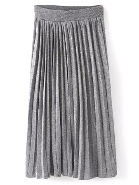 new Knitted Pleated Maxi Skirt - GRAY ONE SIZE Mobile
