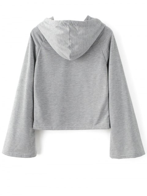 fashion Casual Flare Sleeve Hoodie - GRAY S Mobile
