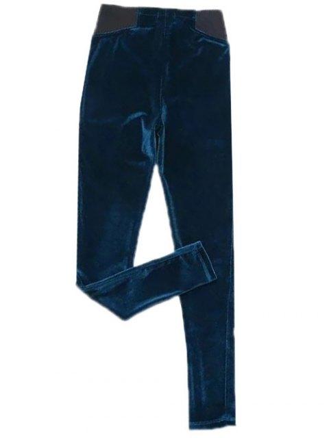best Velvet Narrow Feet Pants - DEEP BLUE S Mobile