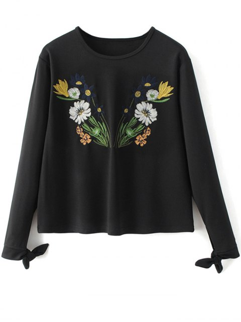 womens Bowknot Floral Embroidered Tee - BLACK L Mobile