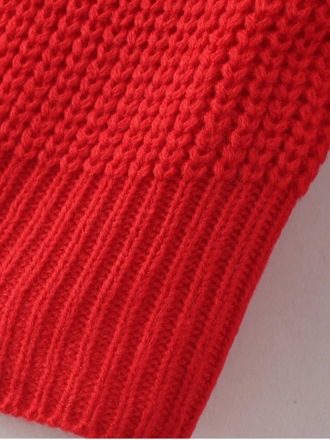 ladies Casual V Neck Sweater - RED ONE SIZE Mobile