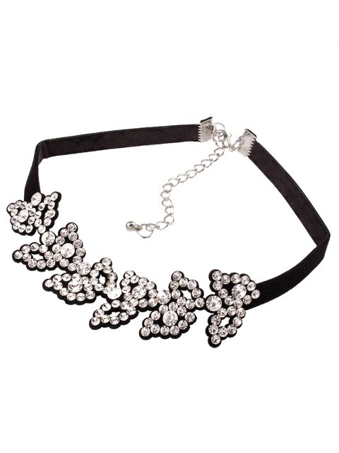 outfits Rhinestone Fake Leather Choker Necklace - WHITE  Mobile