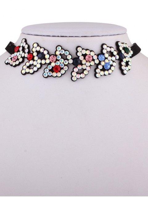 shop Rhinestone Fake Leather Choker Necklace - COLORFUL  Mobile