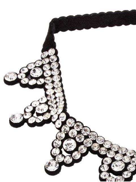 shops Geometric Rhinestone Choker Necklace - WHITE  Mobile