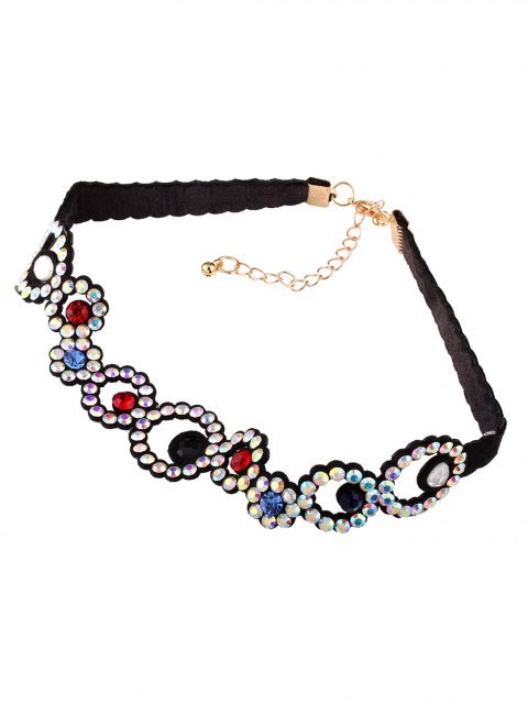 fancy Rhinestoned Floral Choker Necklace - COLORFUL  Mobile