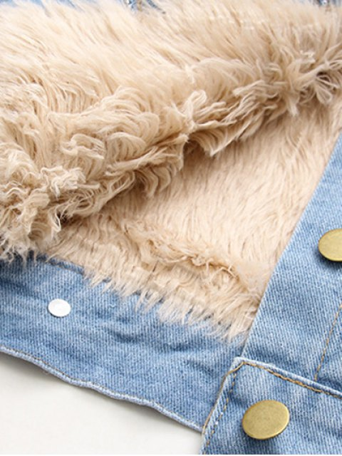 trendy Lamb Wool Jeans Jacket - BLUE S Mobile