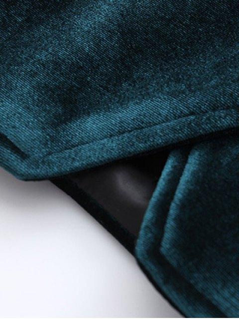 chic Zipper Embroidered Velvet Jacket - BLACK M Mobile