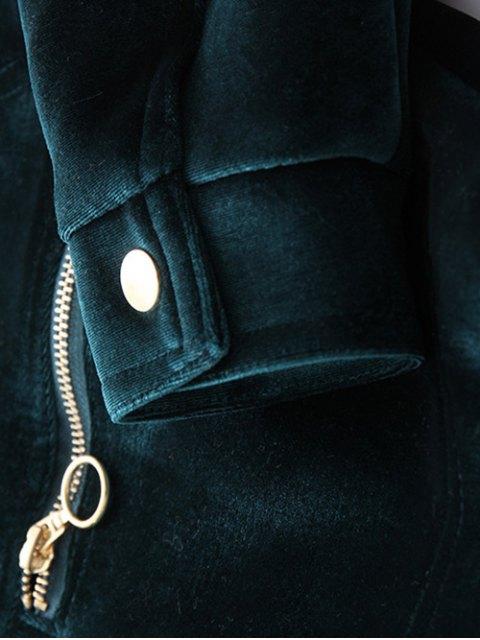 affordable Zipper Embroidered Velvet Jacket - DEEP BLUE S Mobile