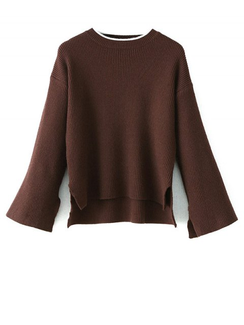 best High-Low Slit OversizedSweater - COFFEE ONE SIZE Mobile