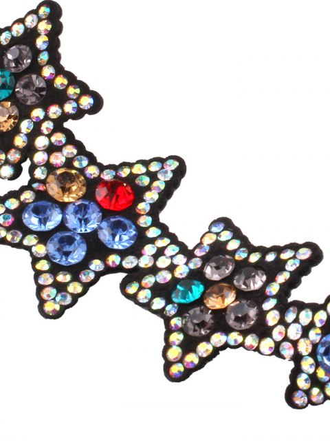 affordable Faux Leather Star Rhinestone Necklace - COLORFUL  Mobile