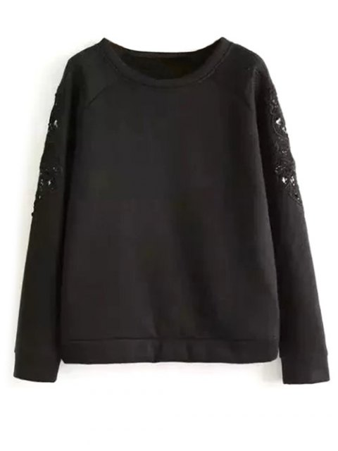 chic Embroidered Wool Blend Sweatshirt - BLACK M Mobile