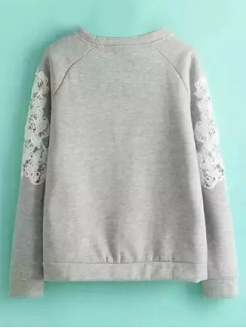 fancy Embroidered Wool Blend Sweatshirt - GRAY L Mobile