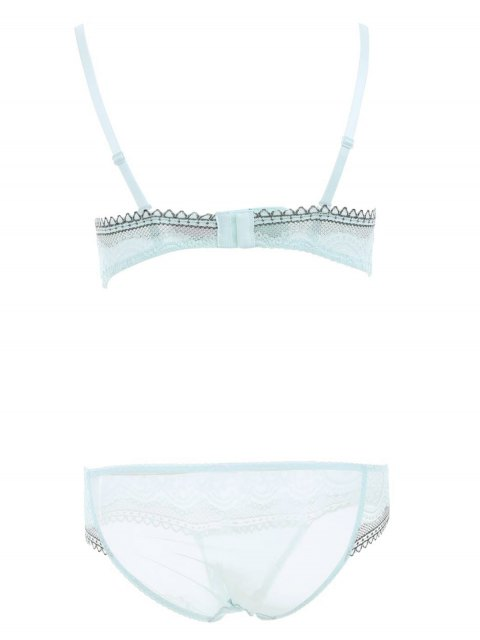 buy Lace Panel Adjusted Straps Underwire Bra Set - LIGHT GREEN 75C Mobile