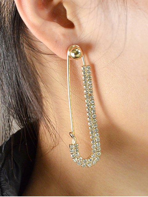 shops ONE PIECE Rhinestoned Pin Earring - GOLDEN  Mobile